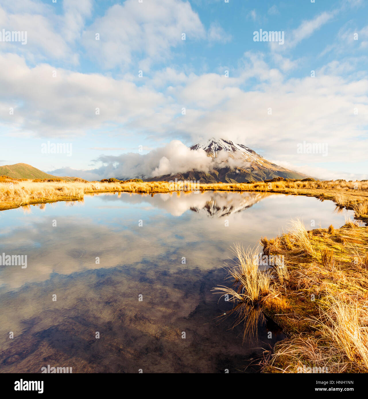 Reflection in Puakai Tarn, stratovolcano Mount Taranaki or Mount Egmont, Egmont National Park, Taranaki, New Zealand - Stock Image