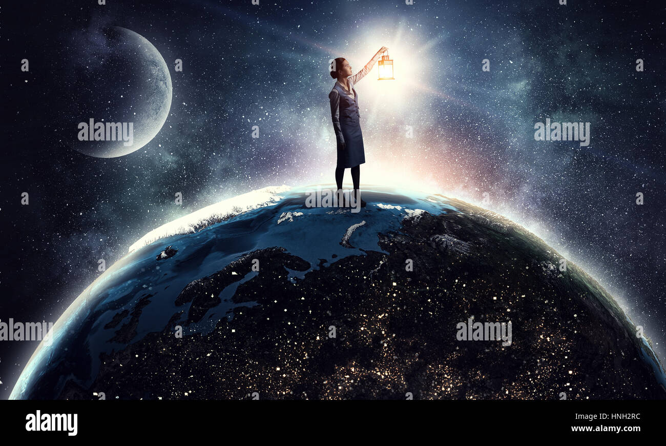 Silhouette Of Woman Earth Planet In Cosmos Space. Elements