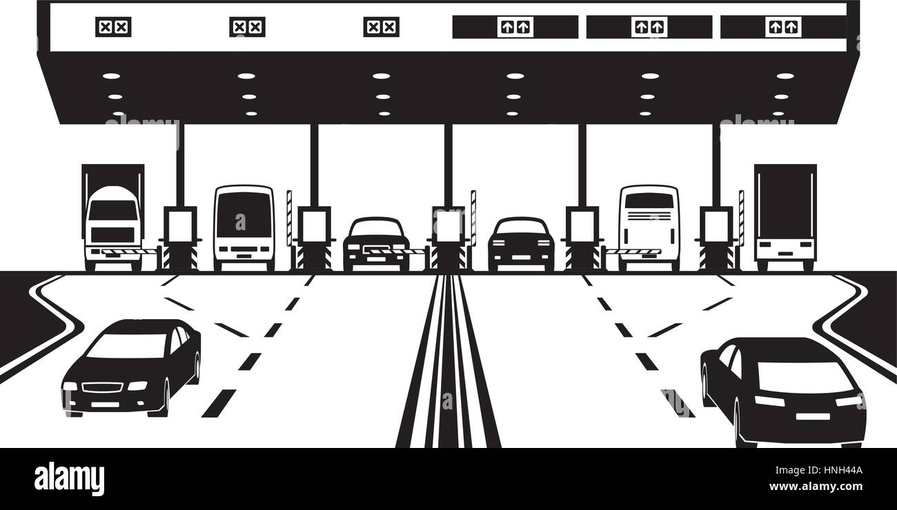 Road tax checkpoint on highway - vector illustration - Stock Image