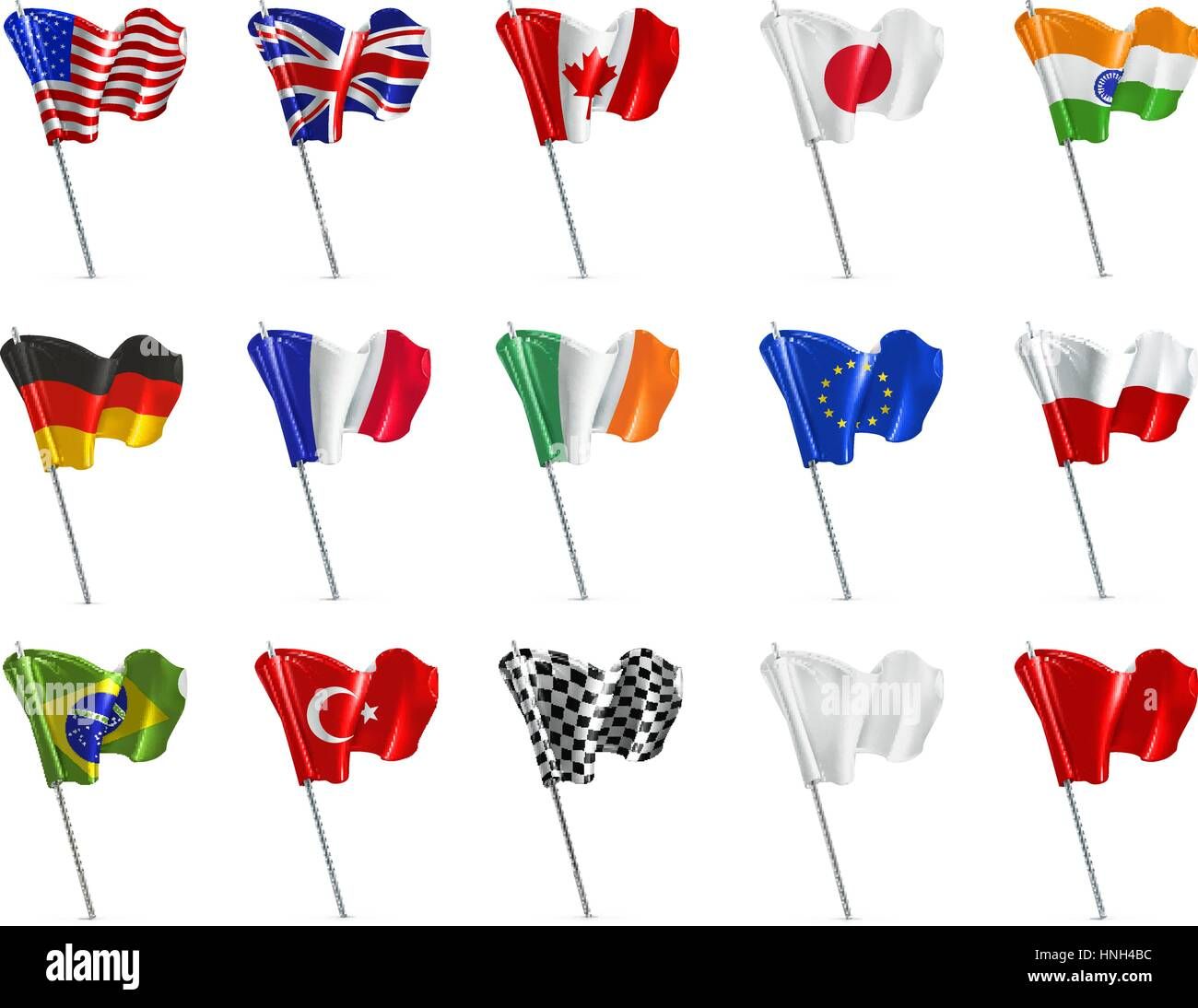 Various flags, 3d vector icon set - Stock Vector