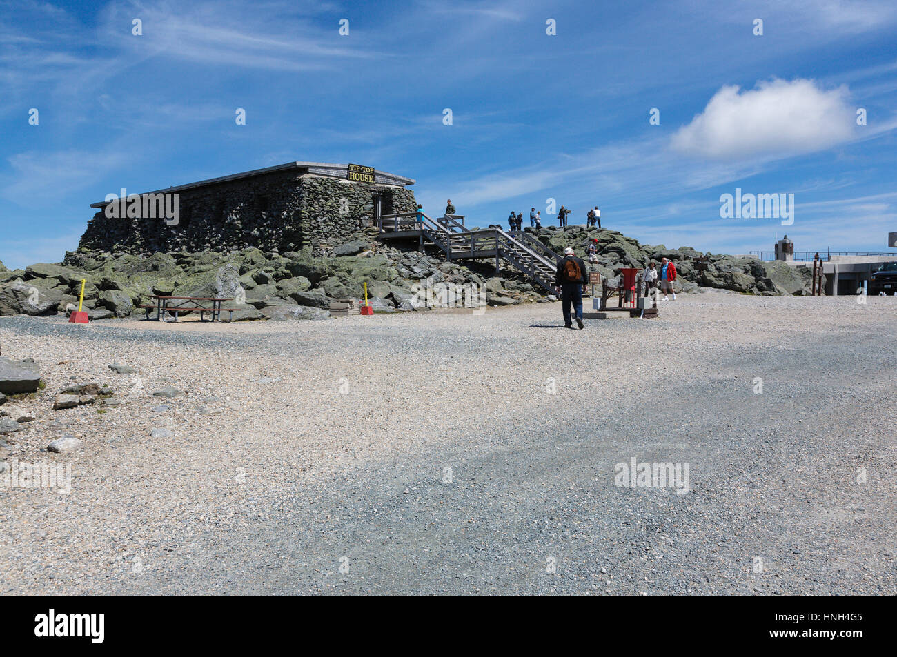 The Tip Top House (originally built as a hotel in 1853) on the summit of Mount Washington in the White Mountains, - Stock Image