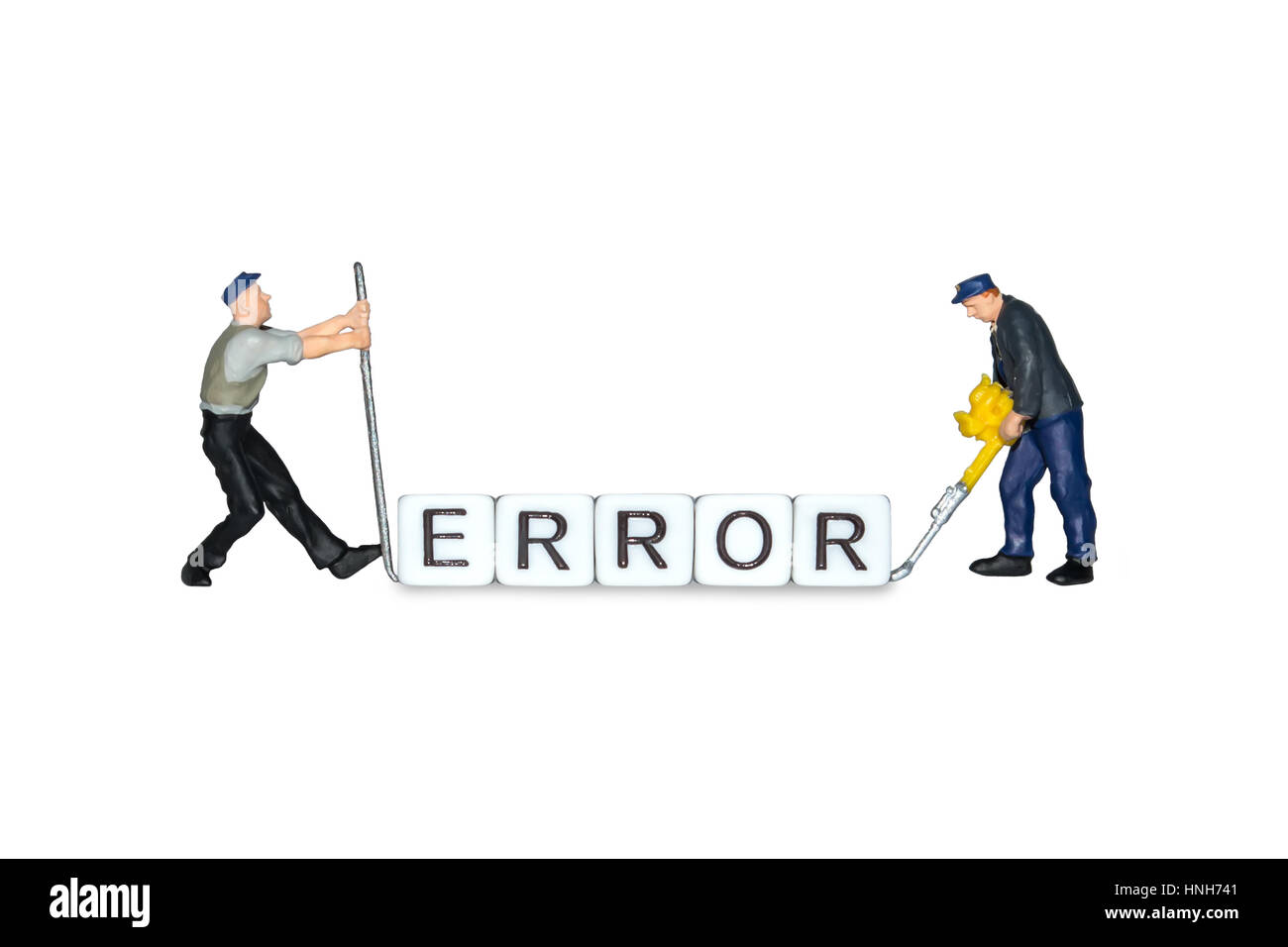 Miniature people. The word error of the cubes. Miniature workers. Human figures, toys. Error page sign. - Stock Image