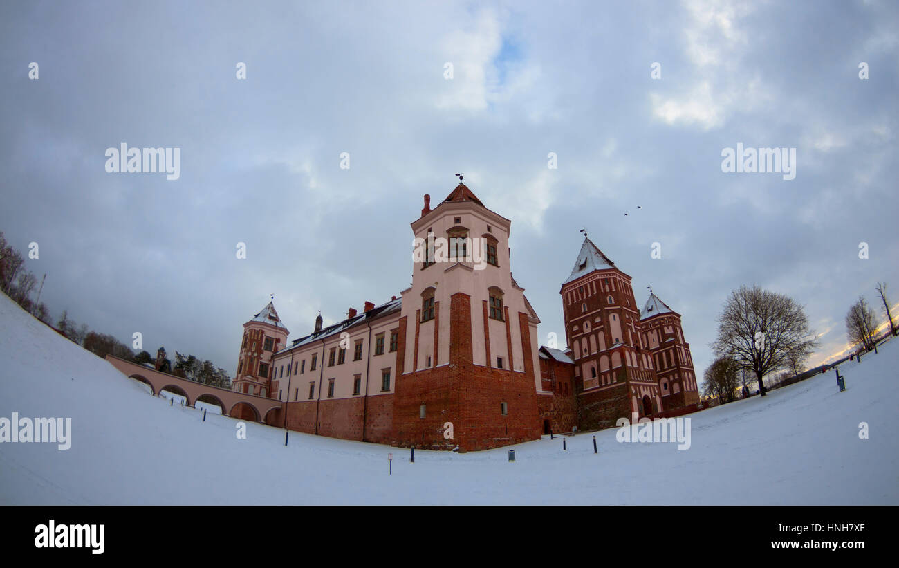 Castle in Mir, Belarus, panorama photo shoot with fish eye lens, historical place, polish fortress in the past, - Stock Image