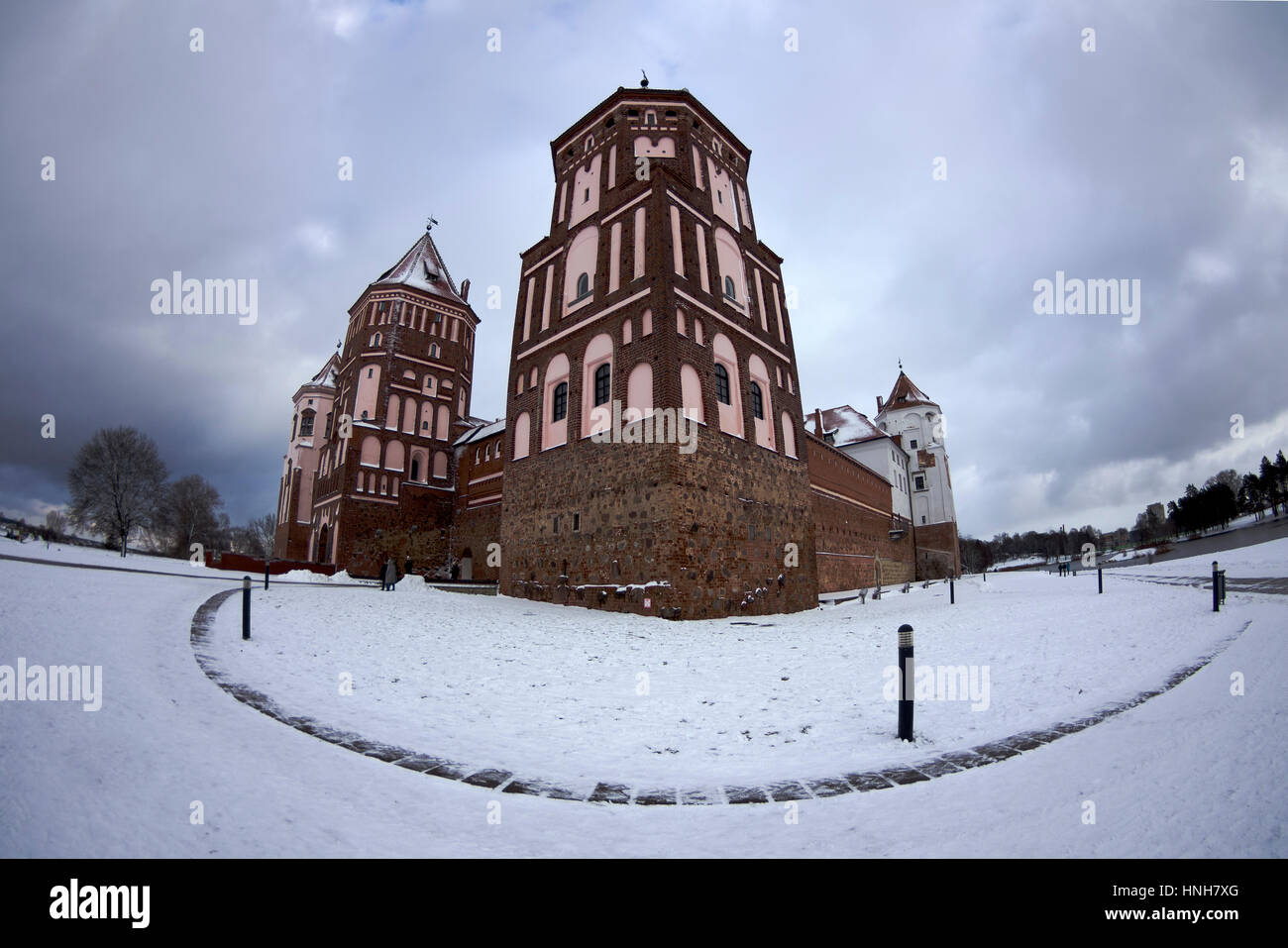 Castle in Mir, Belarus, historical place, polish fortress in a present time museum, winter day, january - Stock Image