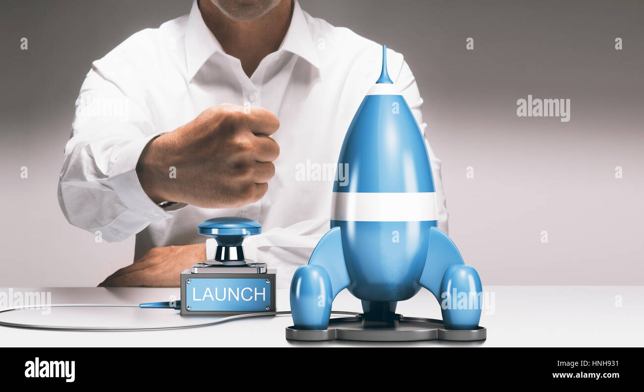 Man about to launch a rocketship. Advertising concept of company startup or business boost. Composite between a - Stock Image