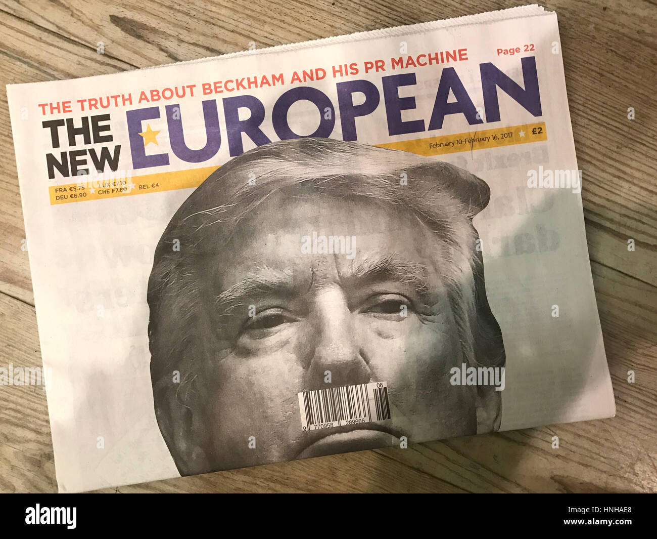 US President Donald Trump on the front cover of the New European Newspaper - Stock Image