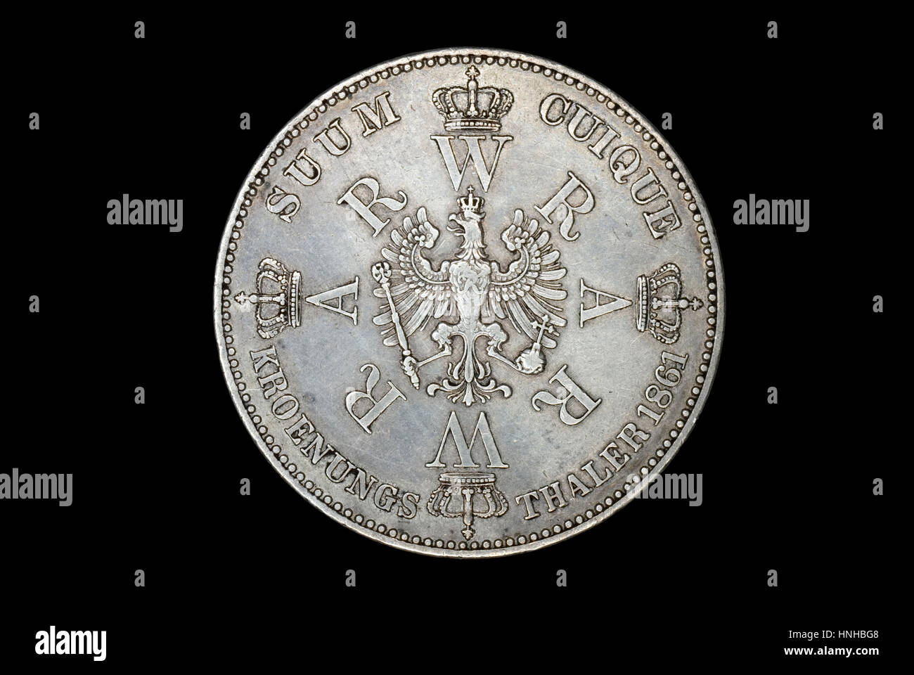 Coin Commemorating Coronation of Wilhelm I and Augusta - Stock Image