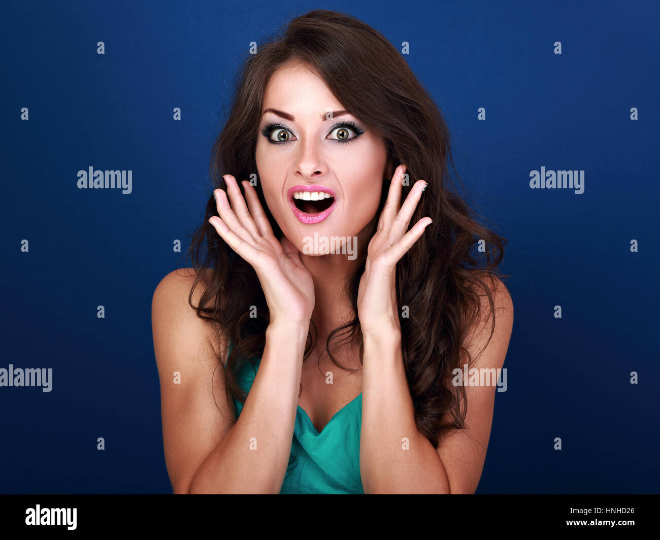 Surprised Shock Makeup Woman With Opened Mouth And Big Eyes With