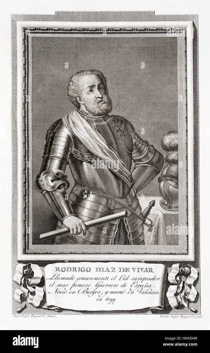 Rodrigo Díaz de Vivar, c.1040 – 1099, aka  El Cid, El Campeador or  Rodrigo.  Castilian nobleman and military - Stock Image
