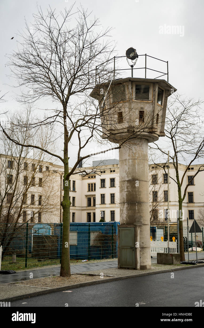 Berlin wall watch tower near Potsdamer Platz - Stock Image