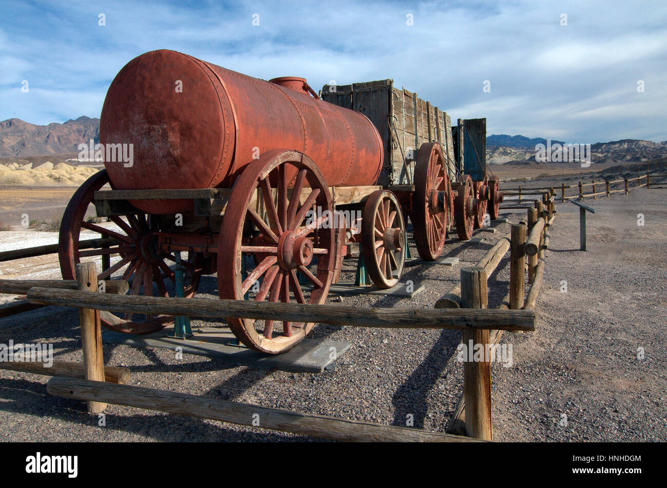 Old mining wagon at the Borax Museum, Death Valley National Park - Stock Image