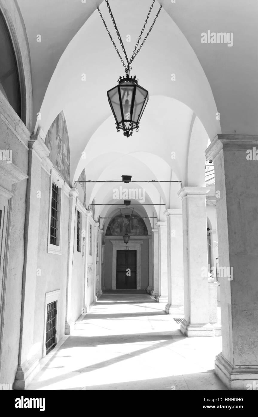 Chiostro del Bramante colonnade in Rome. - Stock Image