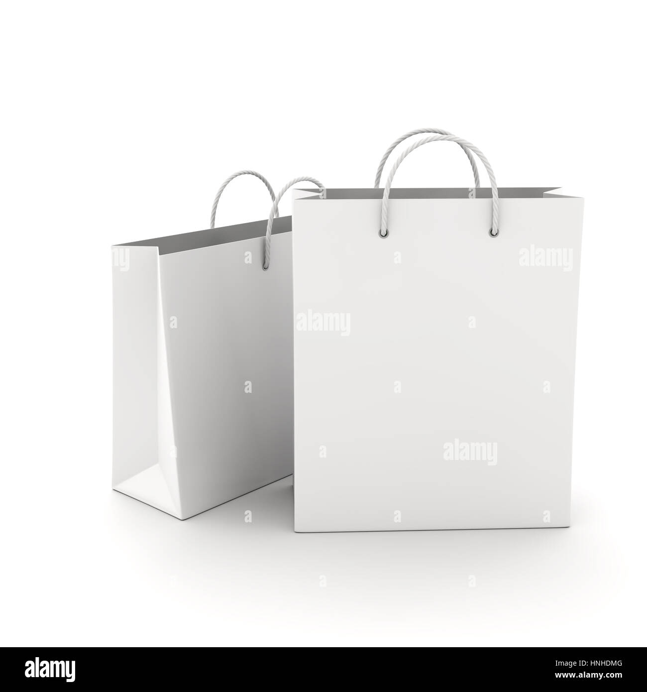 Two Empty Shopping Bag on the white. 3D illustration - Stock Image