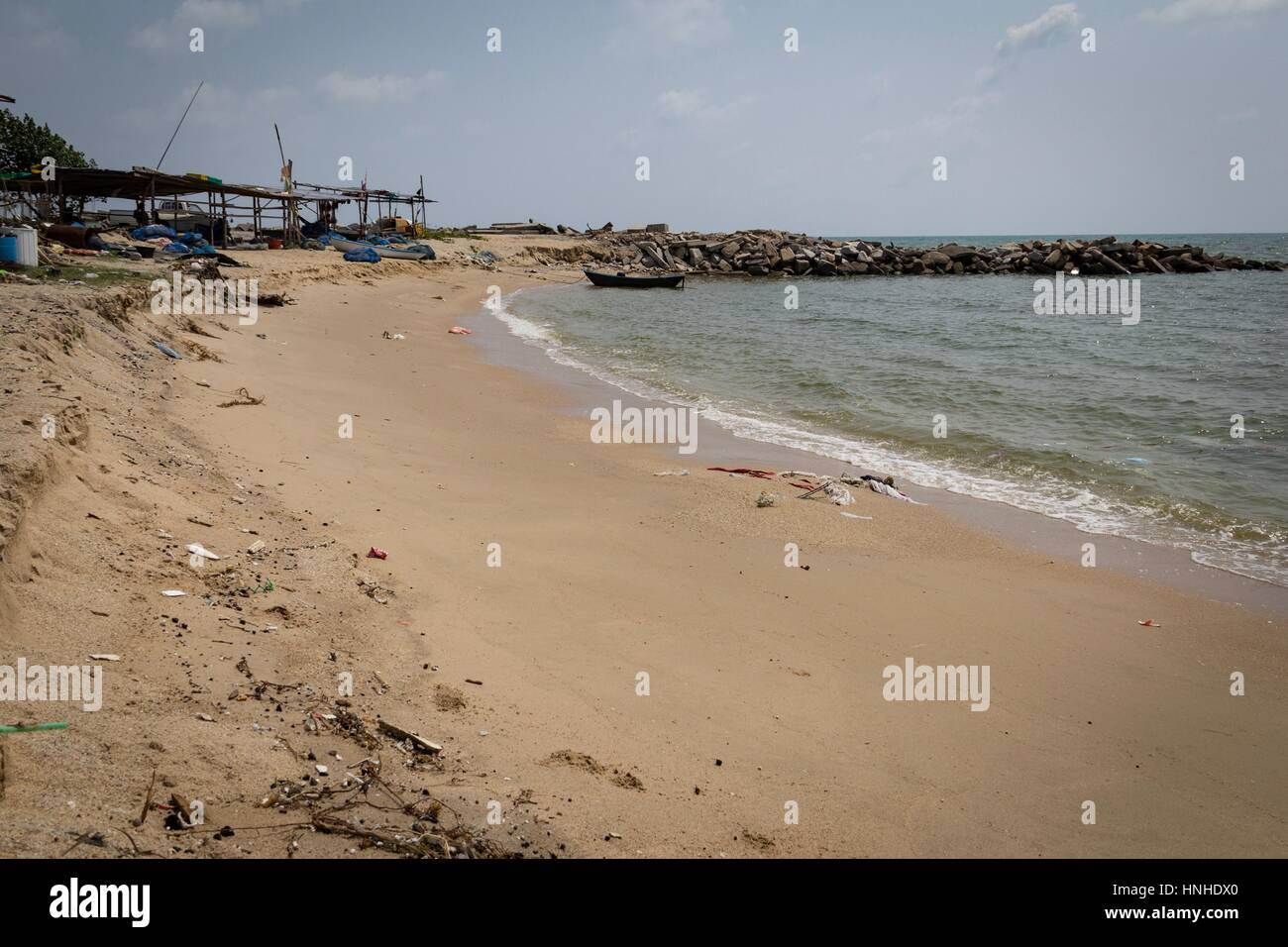 Rayong, Thailand - February 27, 2014 Pollution of the Gulf of Thailand in the area of Rayong Terminal. - Stock Image