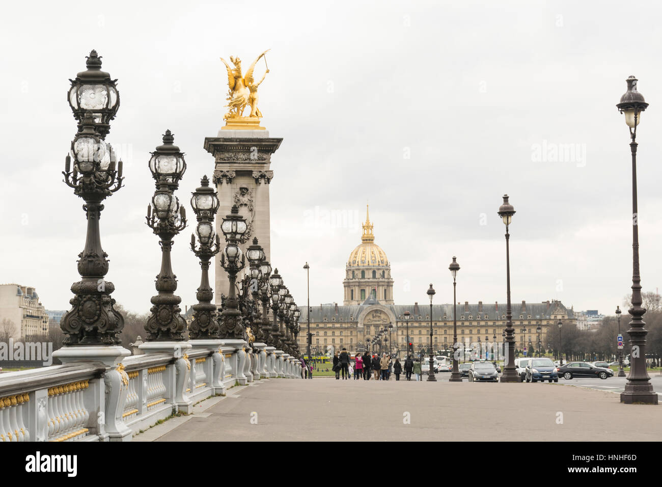 Pont Alexandre III with Chapel of Saint-Louis-des-Invalides in the background, Paris, France - Stock Image