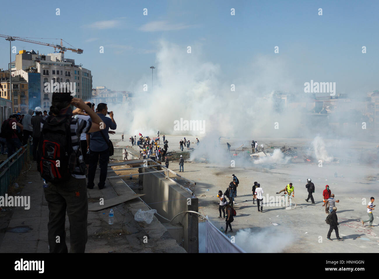 ISTANBUL - JUNE 10 2013 : People are at Taksim Square to protest against Taksim Gezi Park demolition in Istanbul, - Stock Image
