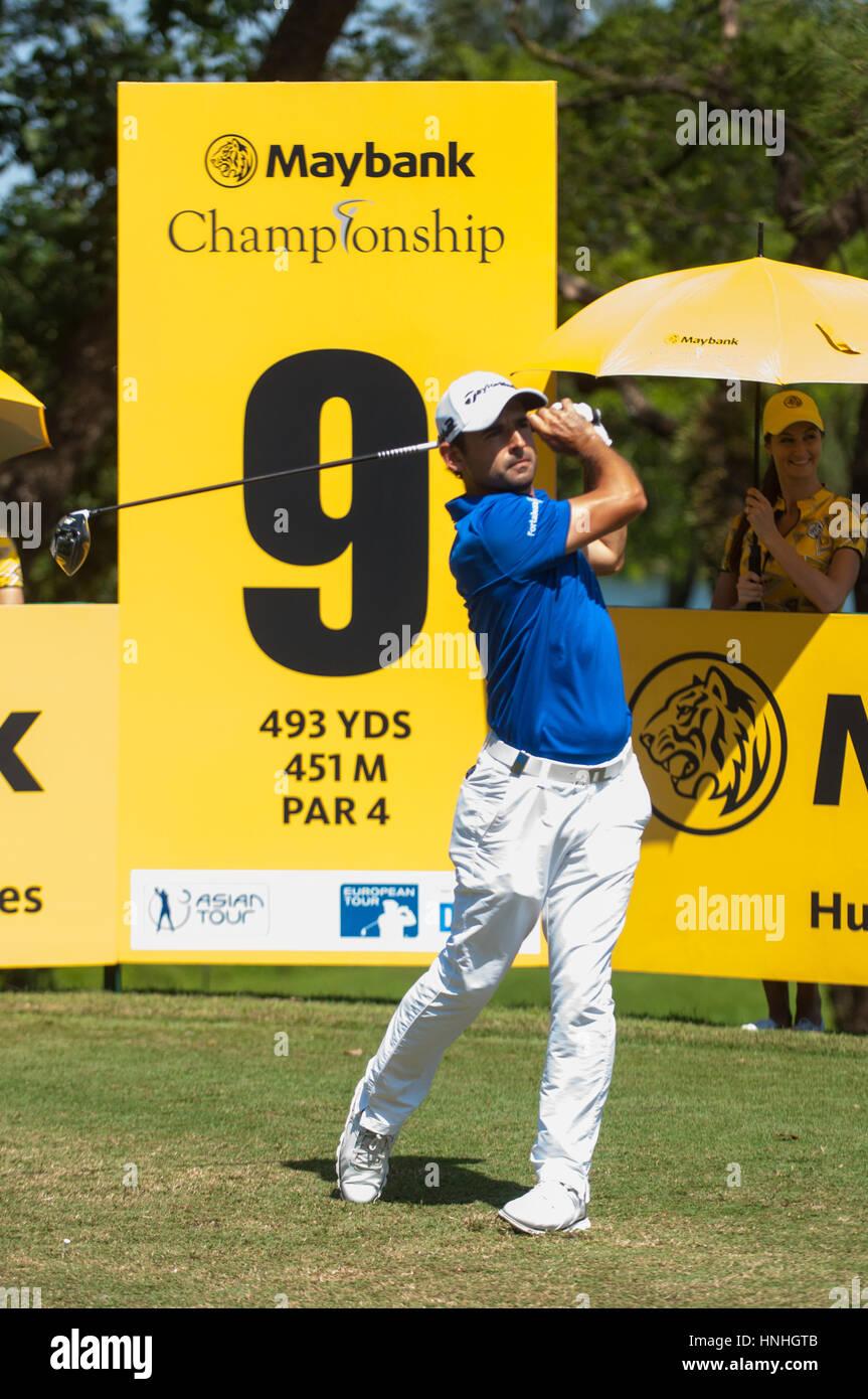 Kuala Lumpur, Malaysia. 12th Feb, 2017 Maybank Golf Championship, European Tour, Fabrizio Zanotti driving the 9th - Stock Image