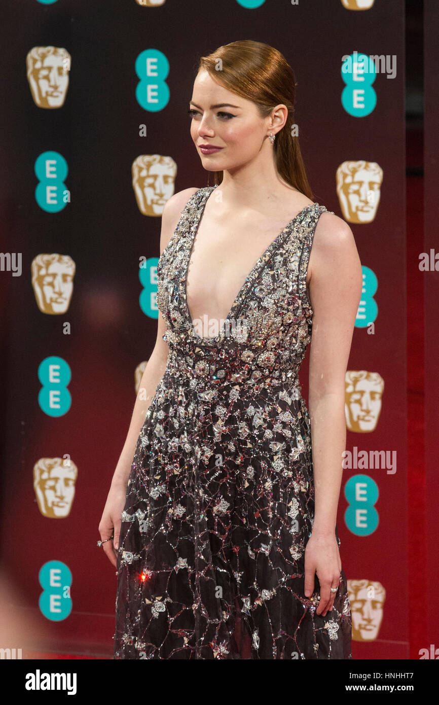 London, UK. 12th Feb, 2017. Emma Stone. Red carpet arrivals for the EE British Academy Film Awards, BAFTAs, at the - Stock Image