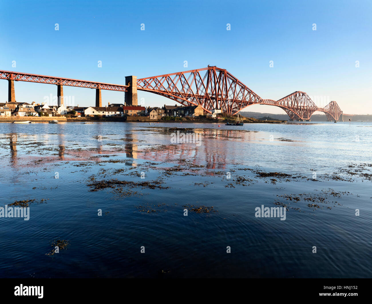 Forth Bridge from West Bay at North Queensferry Fife Scotland - Stock Image