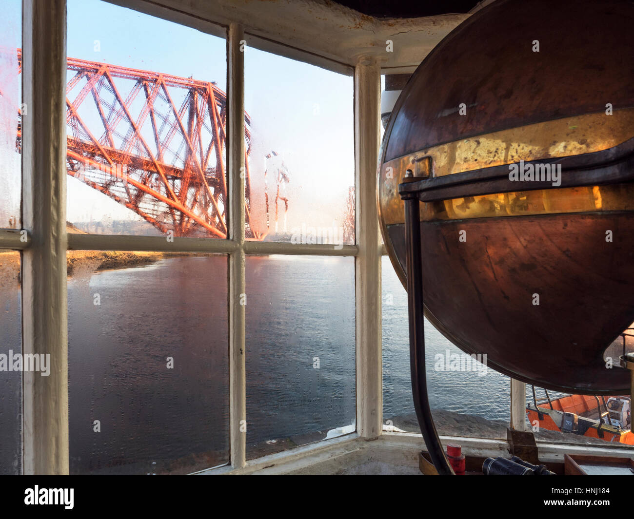 Forth Bridge from the Harbour Light Tower the Worlds Smallest Working Lighthouse North Queensferry Fife Scotland - Stock Image