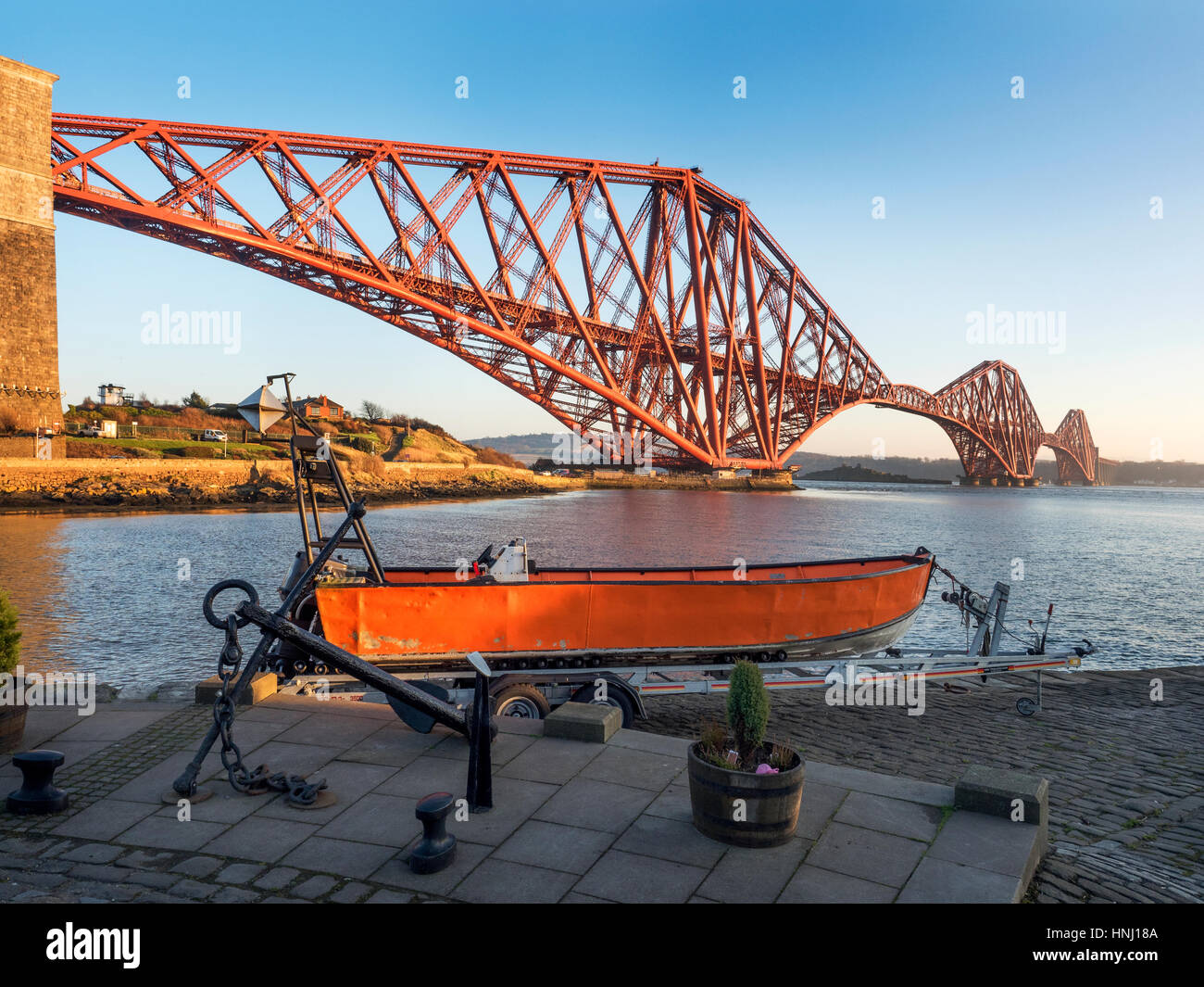 Forth Bridge from South Bay at North Queensferry Fife Scotland - Stock Image