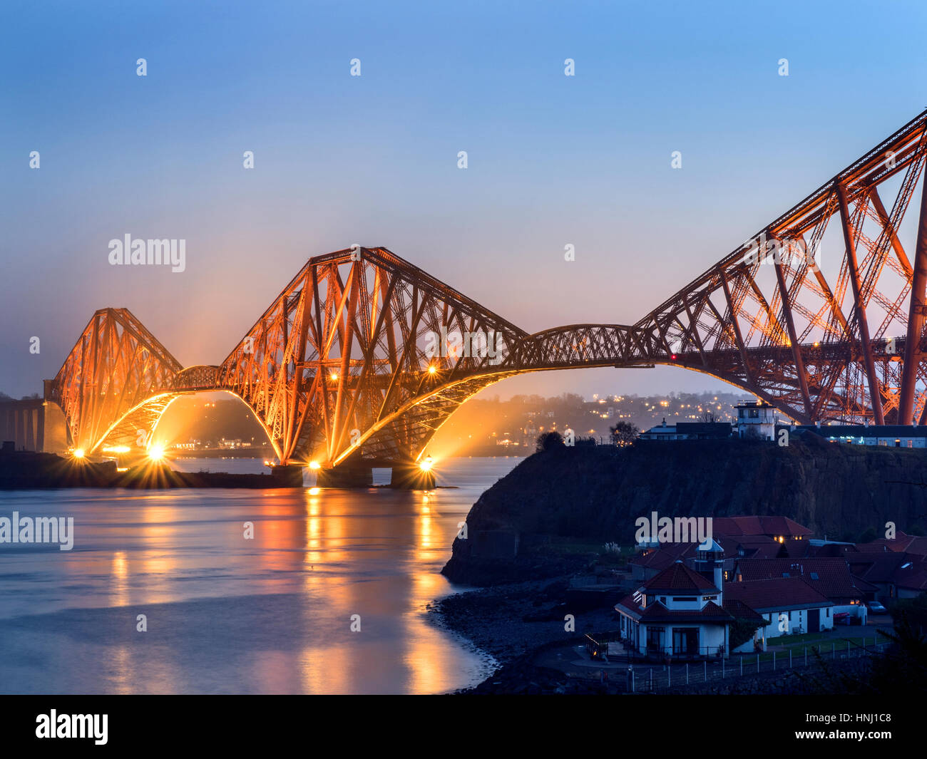 Forth Bridge at Dusk from the Fife Coast Path near North Queensferry Fife Scotland - Stock Image