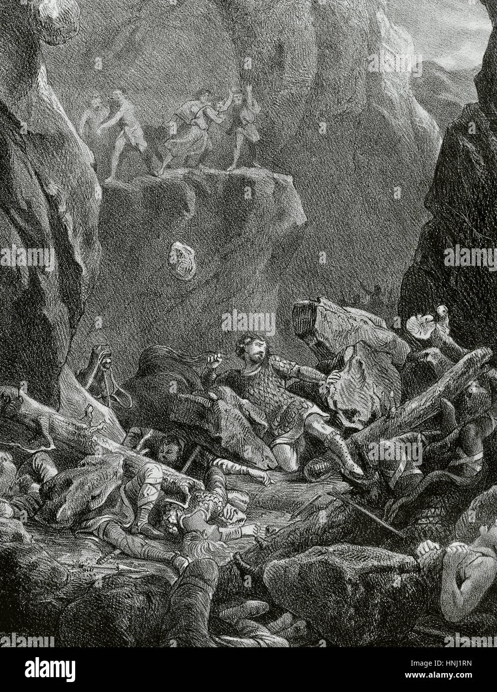 Charlemagne campaign in the Iberian Peninsula. The Battle of Roncevaux Pass in 778. Death of Frankish military leader - Stock Image