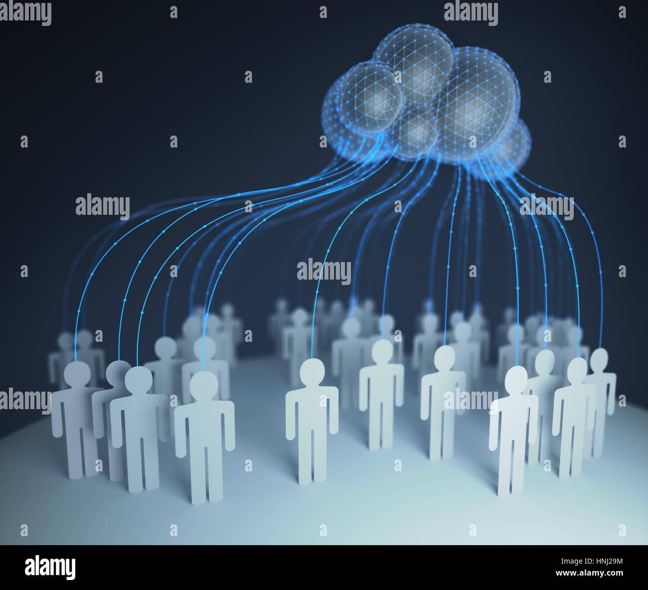 People of the world interconected through the shared computer processing resources and data to computers, cloud - Stock Image