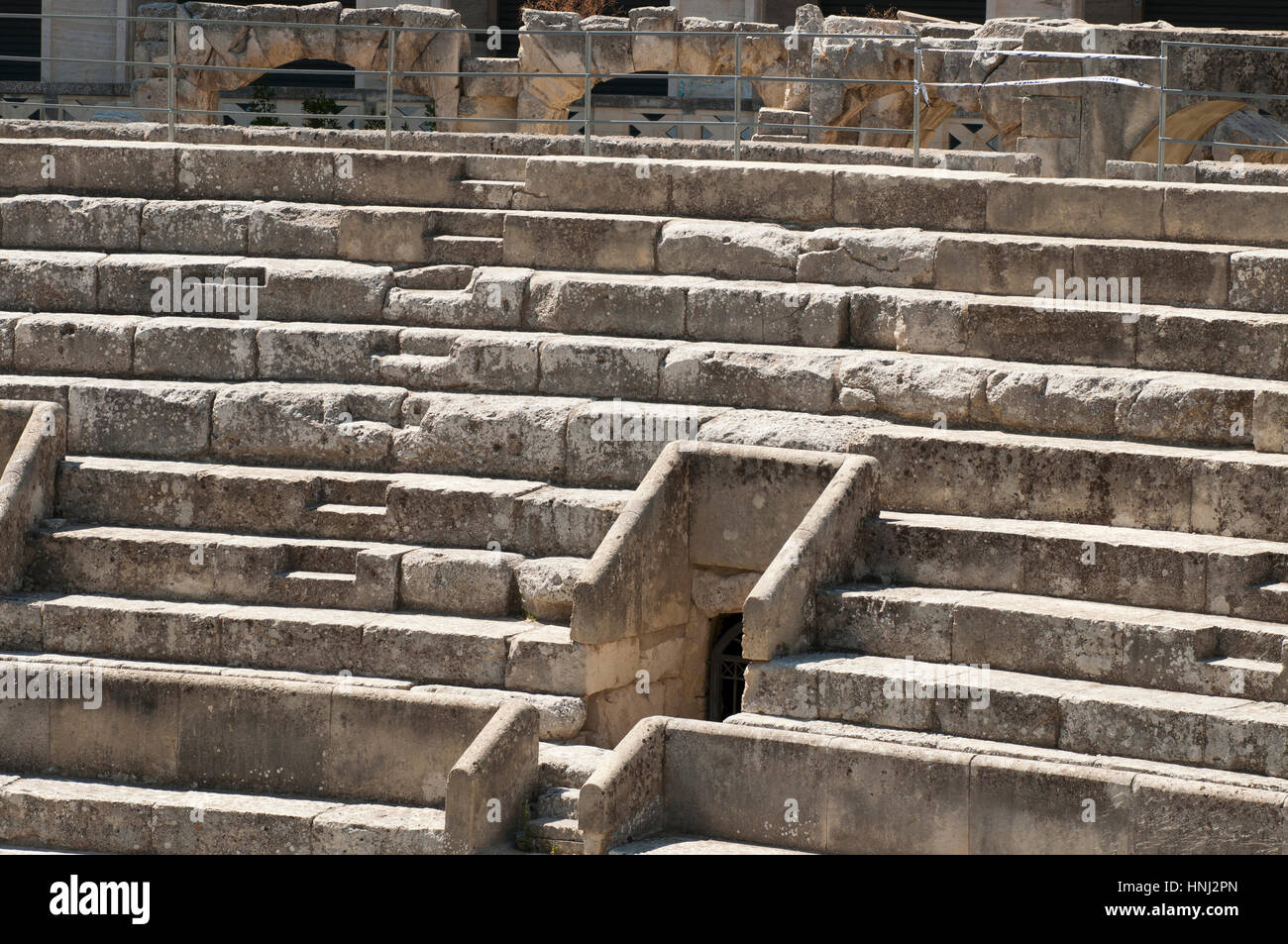 Details of the steps of the ancient Roman amphitheater in Lecce Stock Photo