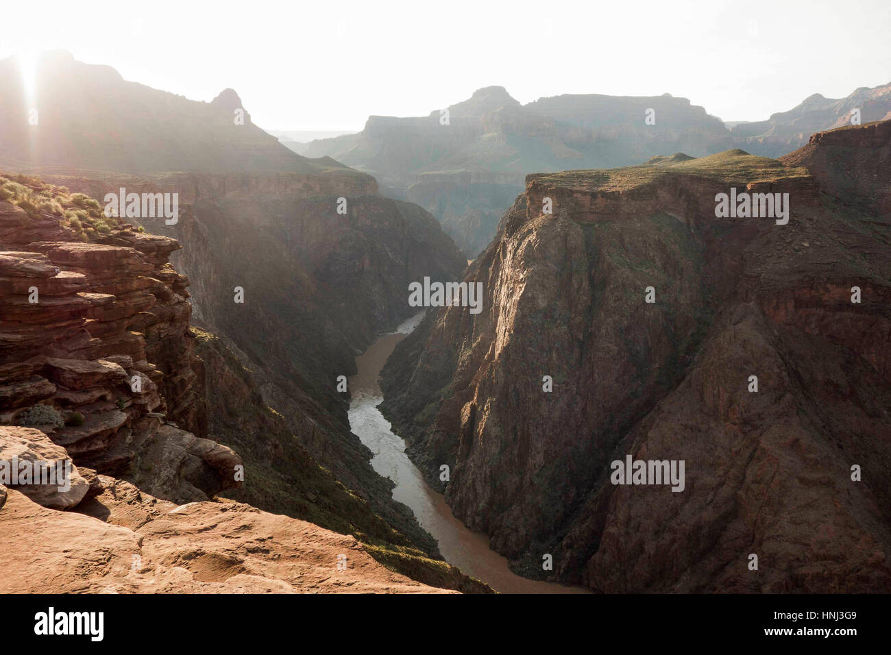High angel view of valley at grand canyon in sunny day - Stock Image