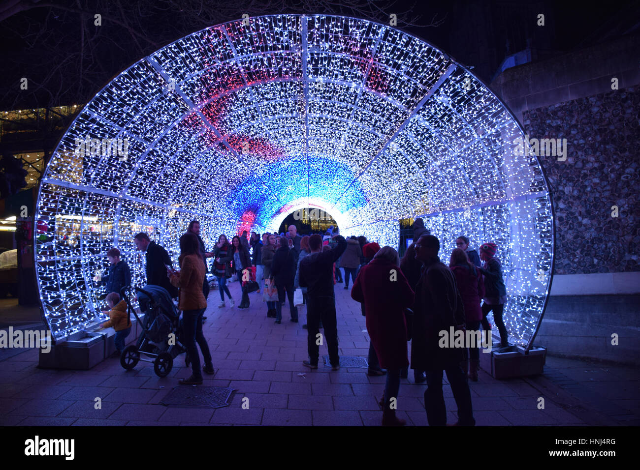 Tunnel of light, Christmas decorations Norwich December 2016 UK - Stock Image