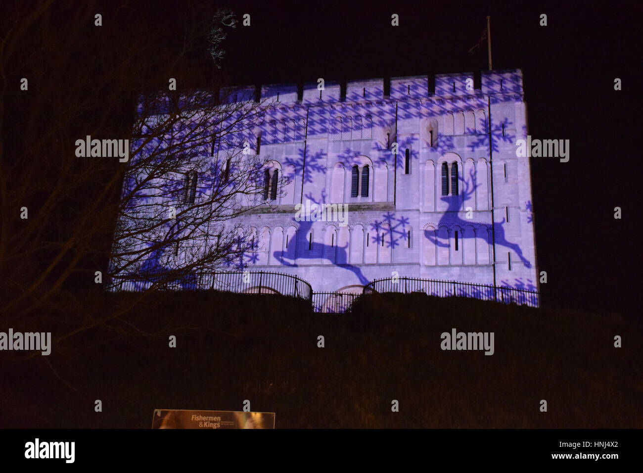 Christmas projection onto Norwich castle, December 2016 UK - Stock Image