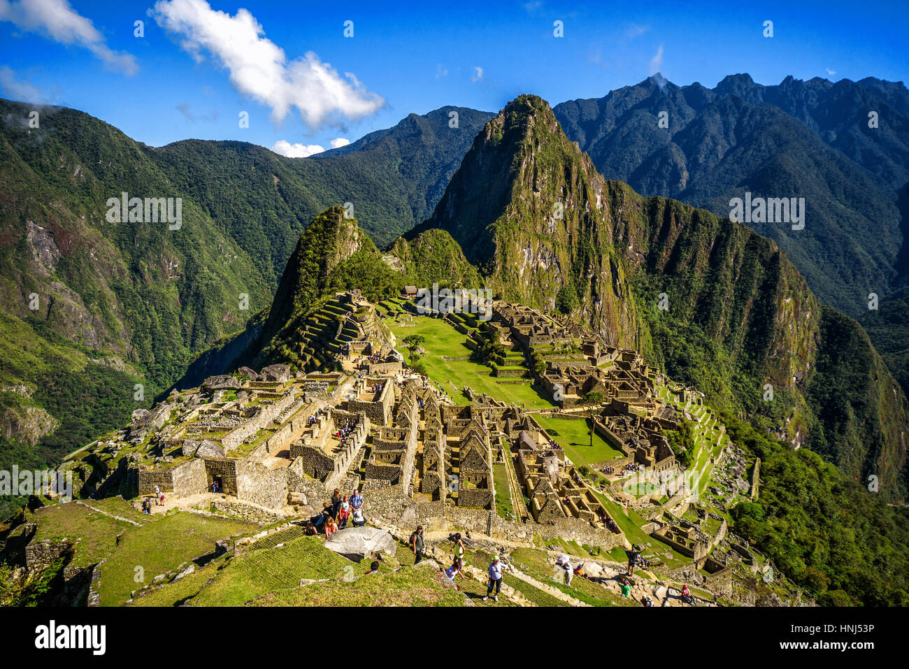 View of the Lost Incan City of Machu Picchu near Cusco, Peru. Machu Picchu is a Peruvian Historical Sanctuary. People - Stock Image