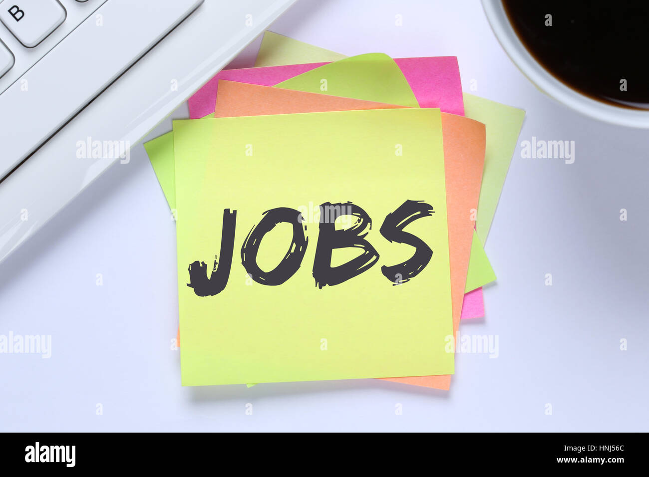 Jobs, job working recruitment employees office computer keyboard - Stock Image
