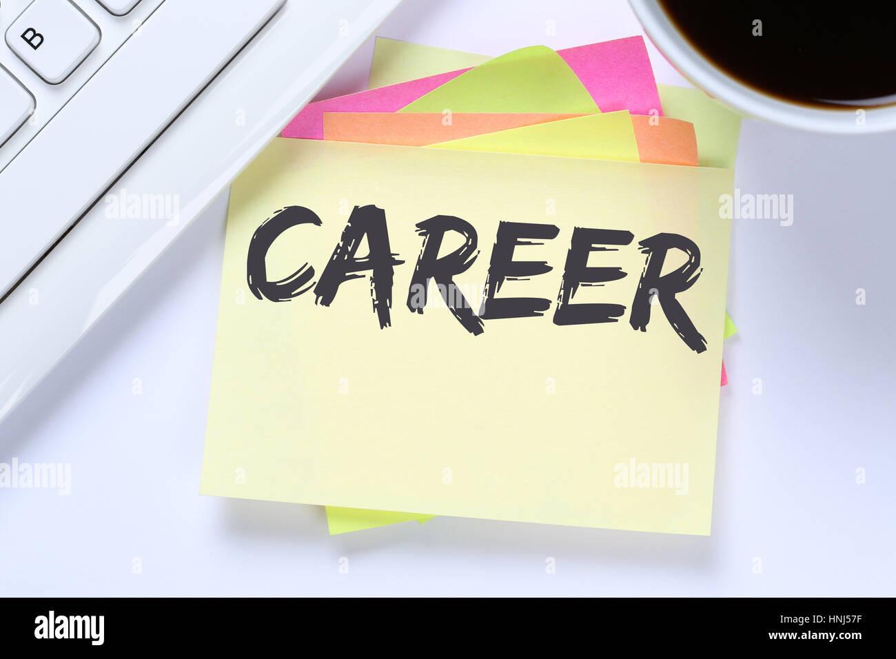 Career opportunities goals success and development business desk computer keyboard Stock Photo