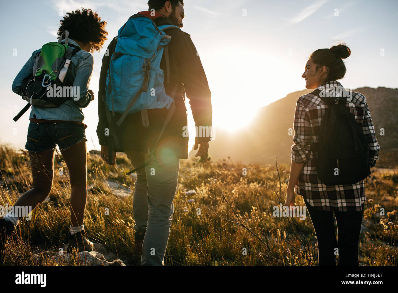 Rear view shot of young friends in countryside during summer holiday hiking. Group of hikers walking in the nature. - Stock Image