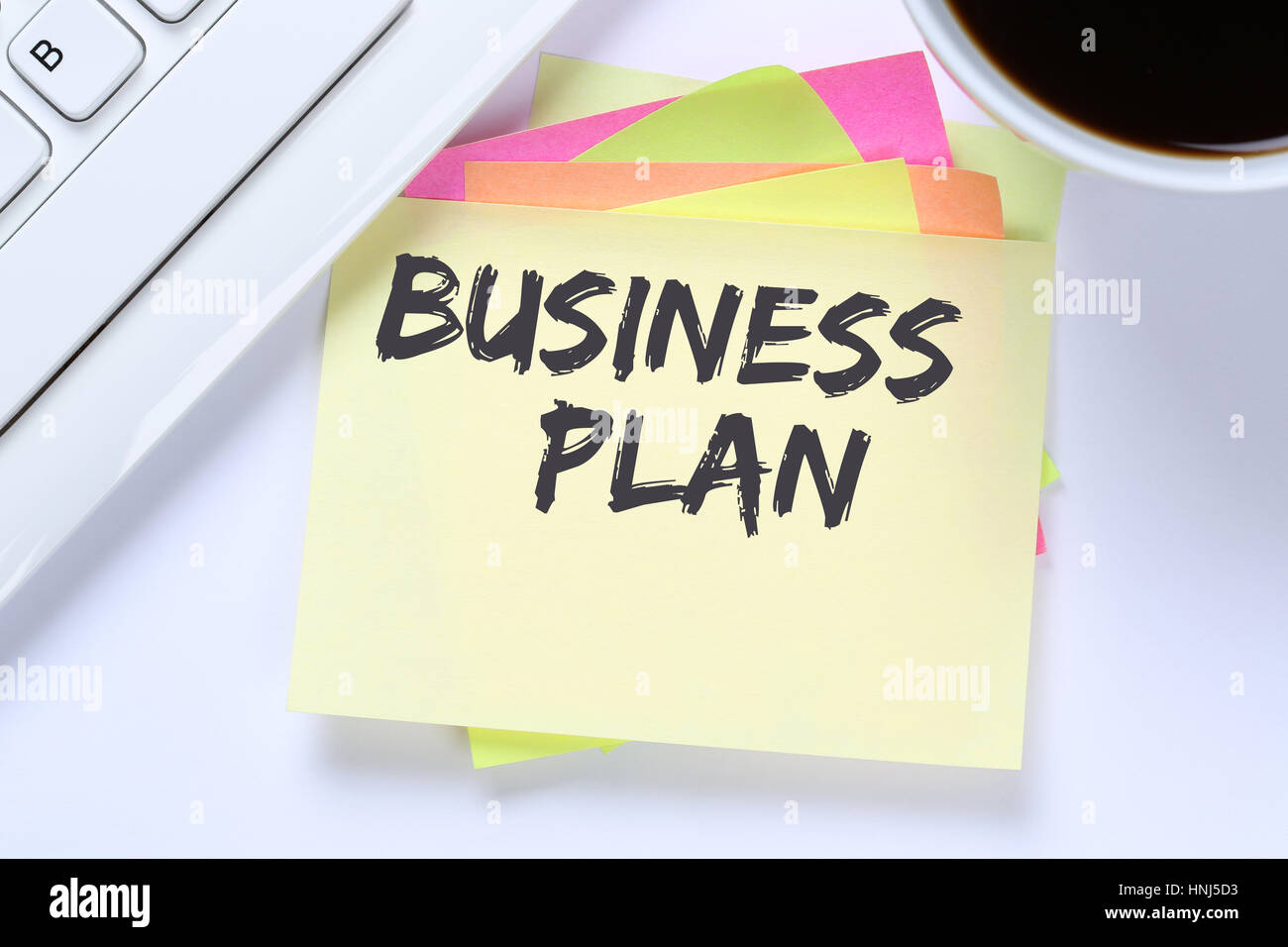 Business plan analysis strategy success concept company desk computer keyboard - Stock Image