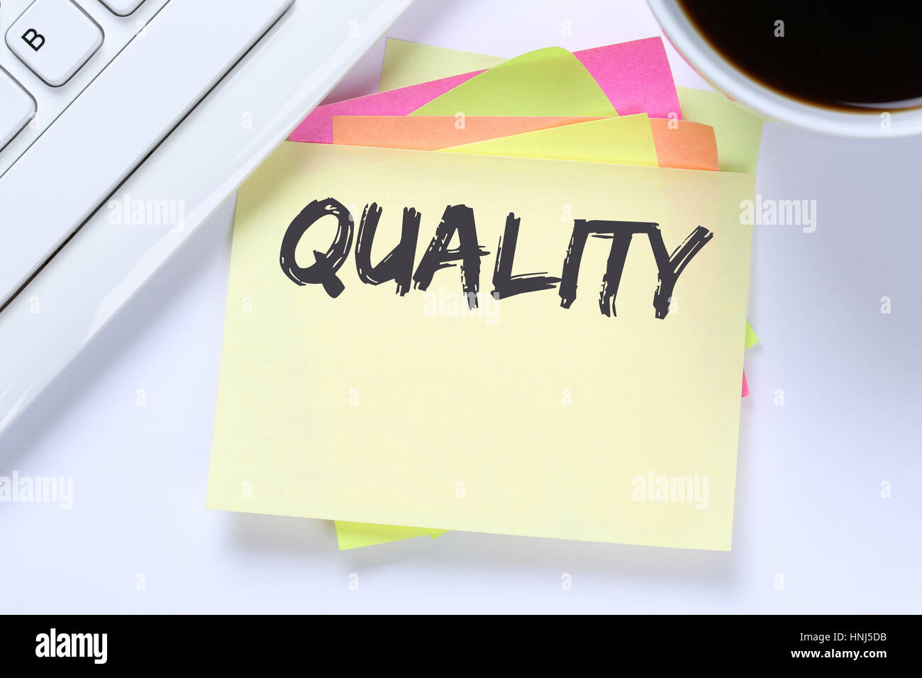Quality control management success business successful desk computer keyboard - Stock Image