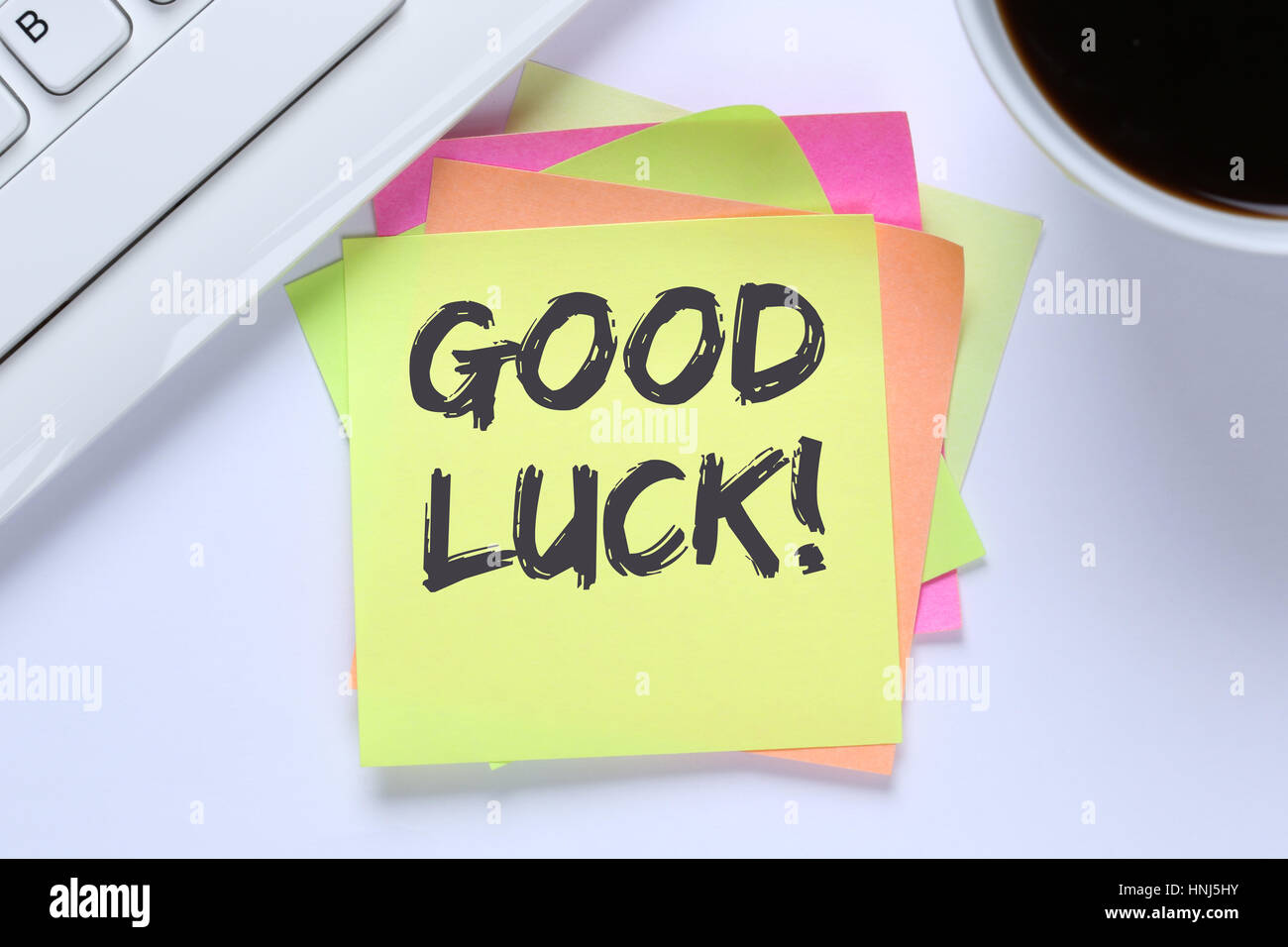 Good luck success successful test wish wishing office desk computer keyboard - Stock Image