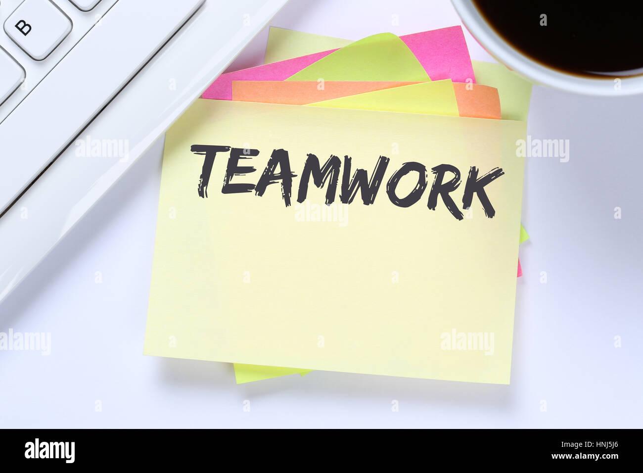 Teamwork team working together business success desk computer keyboard - Stock Image