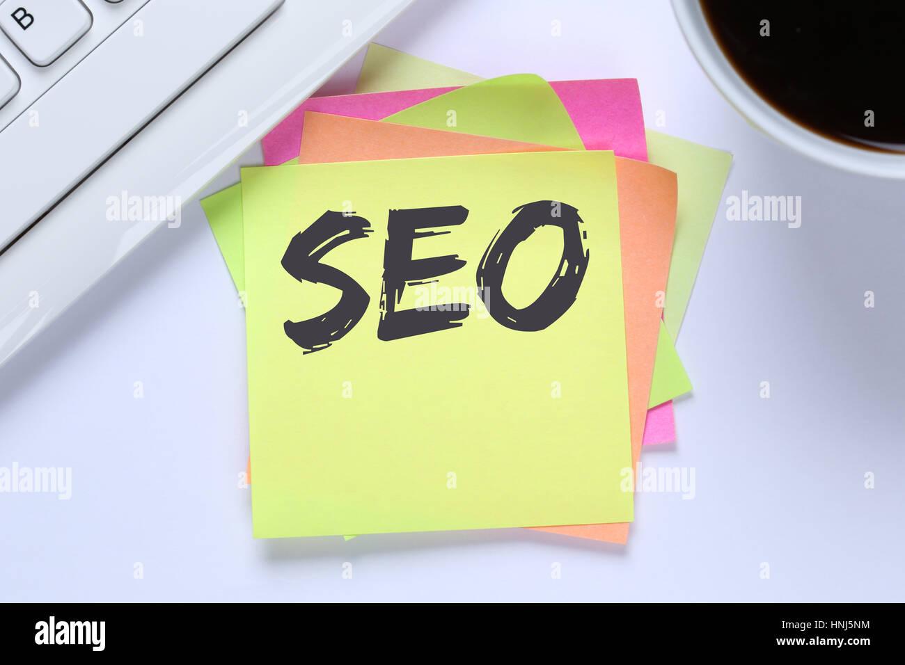 SEO Search Engine Optimization for websites internet business computer desk keyboard - Stock Image