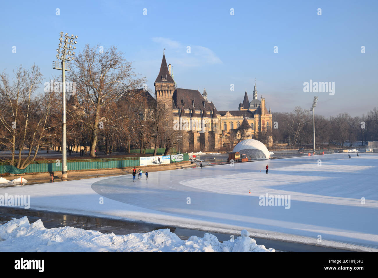 Vajdahunyad Castle, home of Hungarian Agriculture Museum, in City Park, Budapest, Hungary. The lake in front freezes - Stock Image