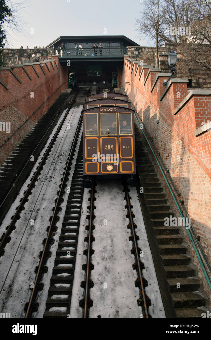 Buda Castle Hill Funicular, Budapest, Hungary - Stock Image