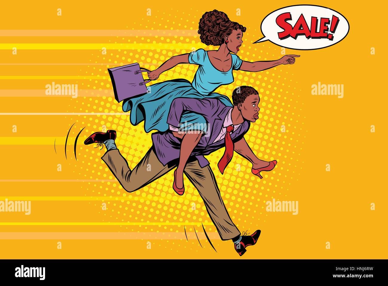 wife riding husband runs on sale. Vintage pop art retro vector. High demand. African American people - Stock Vector