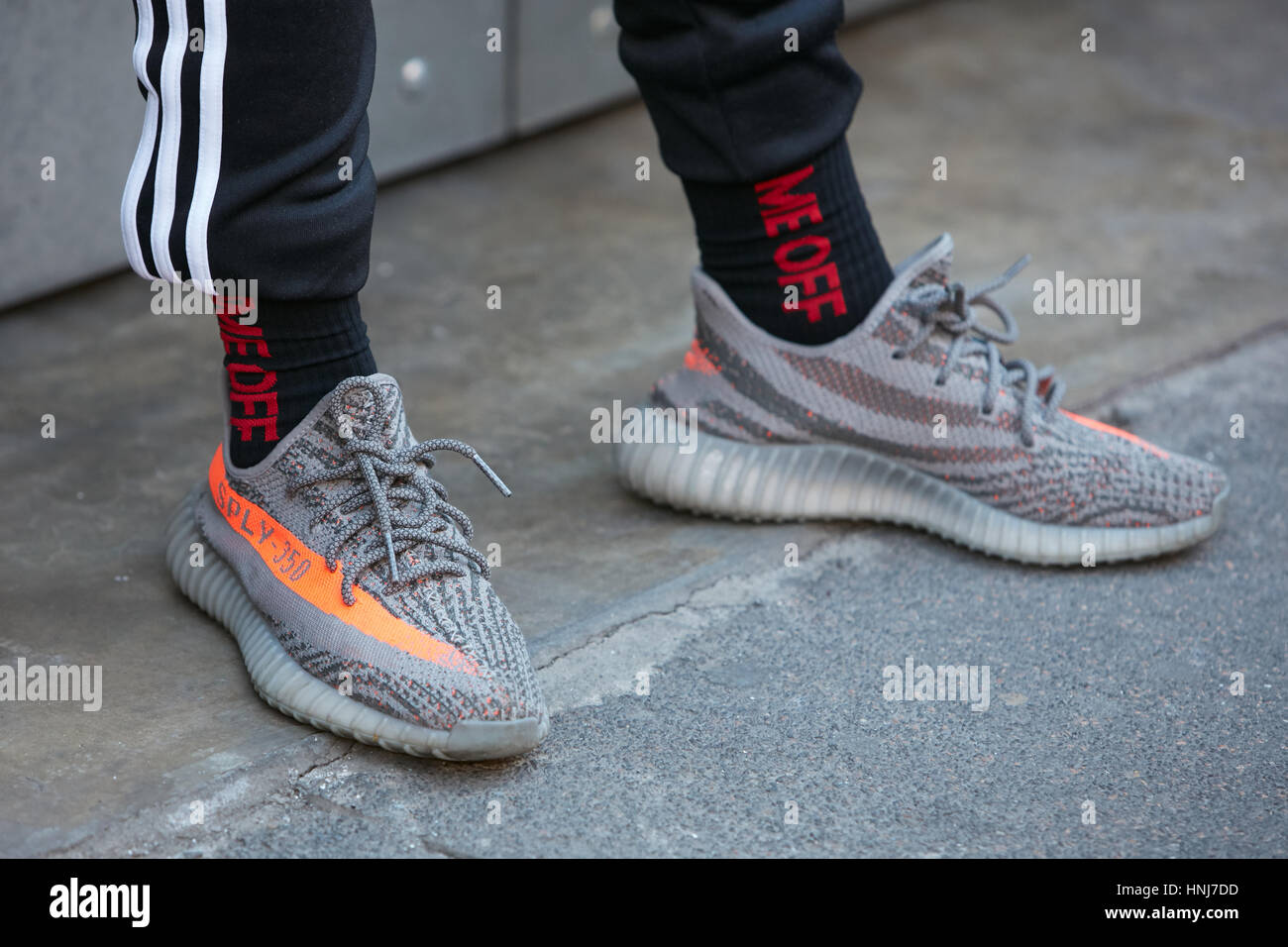 quality design fd3c2 a5727 Man with Adidas Yeezy Boost gray shoes before N 21 fashion ...