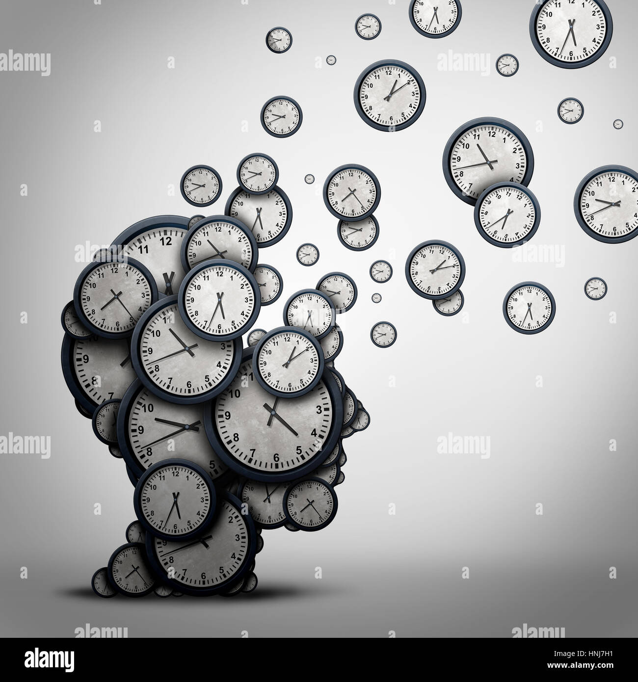 Planning time business concept or wasting minutes as a group of timepieces or clocks shaped as a human head. - Stock Image