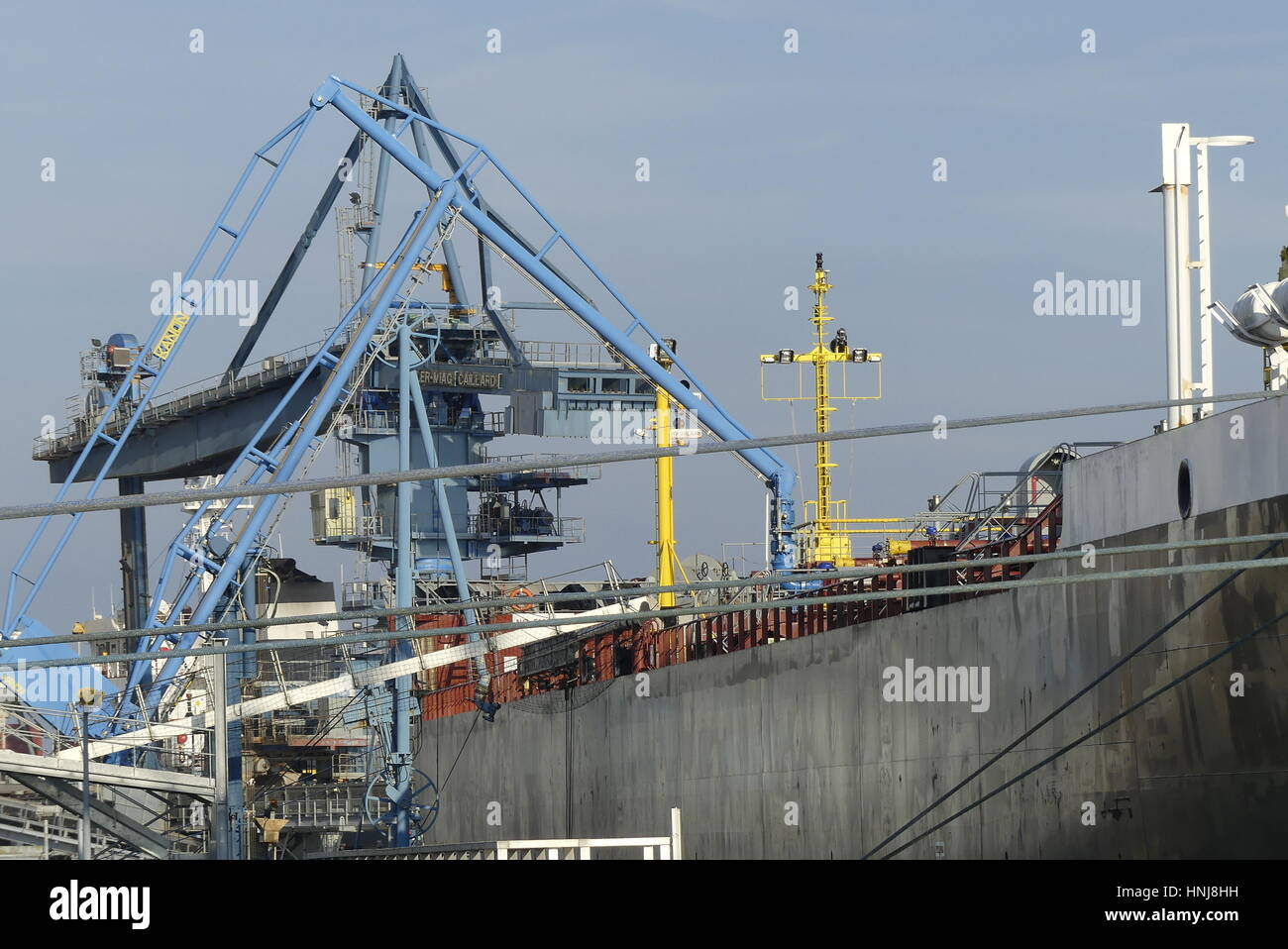 Lorient, France - December 16, 2016: Details of loading arms on shore/ship side on board the motor tanker ' - Stock Image