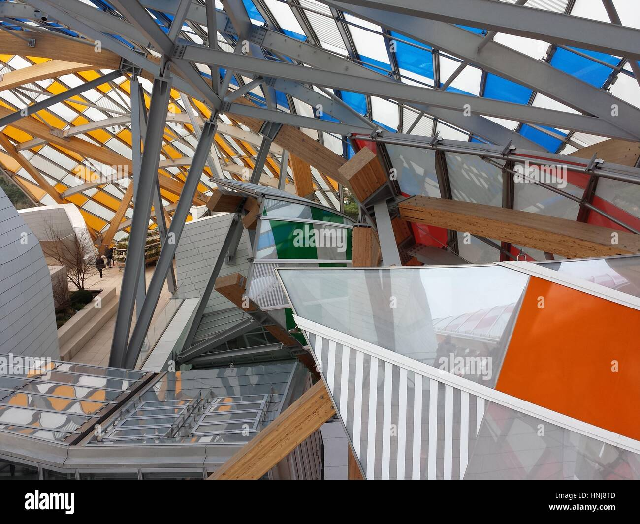 Paris, France - January 15, 2017: Details of modern architecture of the Louis Vuitton Foundation. Art museum and cultural center, Paris, France Stock Photo