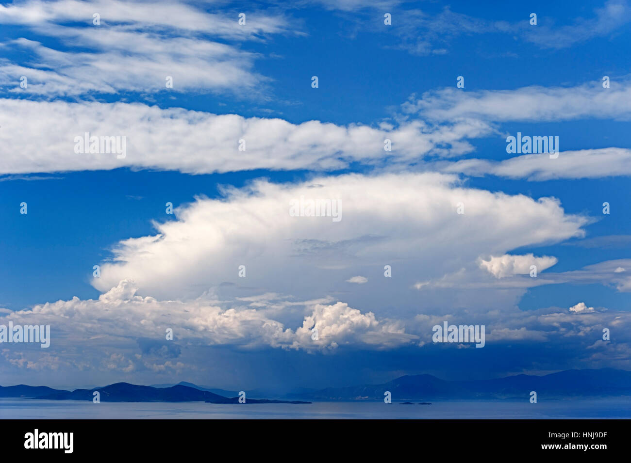 Pagasitic Gulf with the mountains of the Greek mainland in the background (Thessaly, Greece) - Stock Image