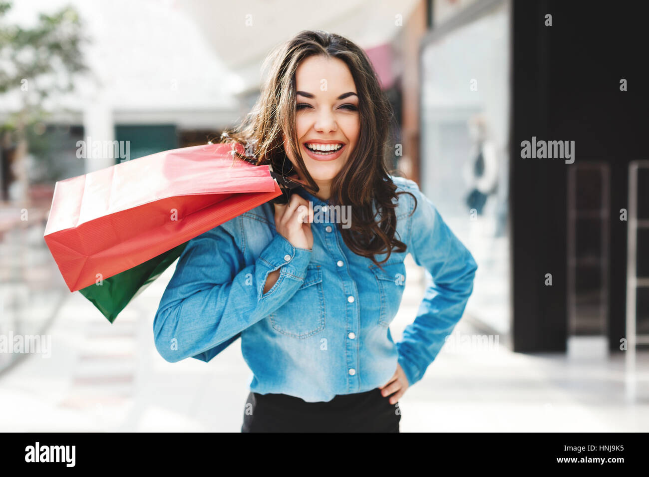 3907bbabb2 Happy Girl In Blue Jeans Stock Photos   Happy Girl In Blue Jeans ...